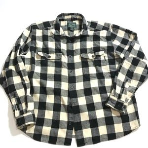 vtg XL flannel cream white checker buffalo pattern